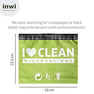 InWi Sanitary Disposable Bags - 45 Bags for Disposal of Sanitary Pads, Sanitary Napkins, Tampons, Condoms and Feminine Hygiene Products