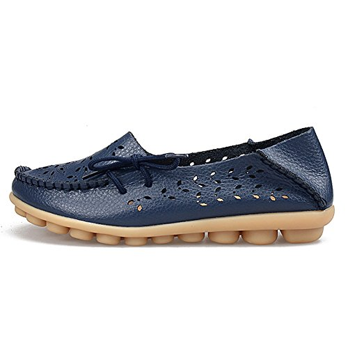 Mocassini Piatti In Pelle Traspirante Yiruiya Donna Slip On Walking Shoes H.blue