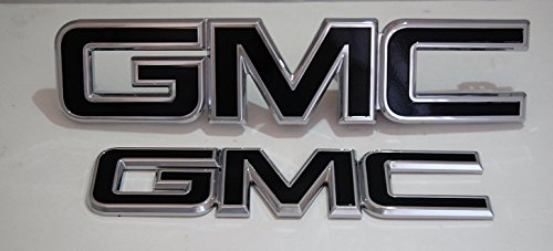 2014 - 2017 GMC Canyon Gloss Black billet aluminum grille and tailgate emblems