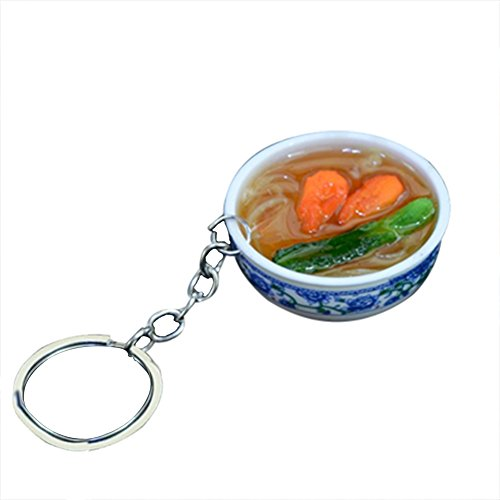 (Qinlee Chinese Food Style Keychain Bag Pendant Key Organizer Key Ring Key Holder Novelty Gifts New Driver, Keyring Accessories for Women(Shrimp Noodles))