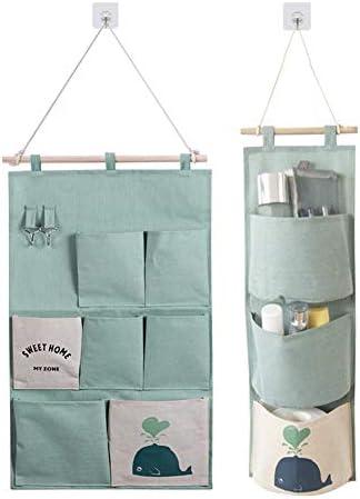EQLEF Hängeaufbewahrung tür, leichte Baumwollwandbehang Aufbewahrungstasche Faltbare Aufbewahrungstaschen für die Tür mit Haken 3/7 Taschen - 2 STK