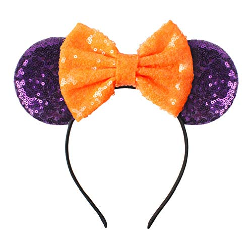 YanJie Halloween Sequin Mouse Ears - Glitter Hair Accessories Party Favor Decoration Cosplay Costume for Children & Adults(Purple) -