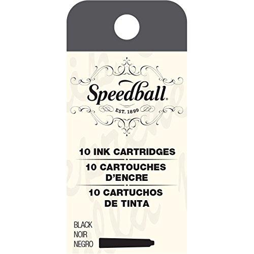 Speedball 002905 Fountain Pen Ink Cartridges Set - Cartridges for Speedball Fountain Pens -10 Black Cartridges
