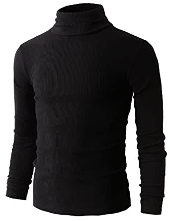 H2H Mens Slim Fit Basic Ribbed Thermal Turtleneck Pullover Sweaters BLACK US 2XL/Asia 3XL (KMTTL033)