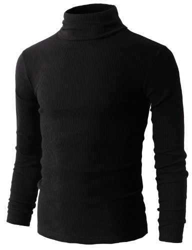H2H Mens Slim Fit Basic Ribbed Thermal Turtleneck Pullover Sweaters BLACK US L/Asia XL (KMTTL033)