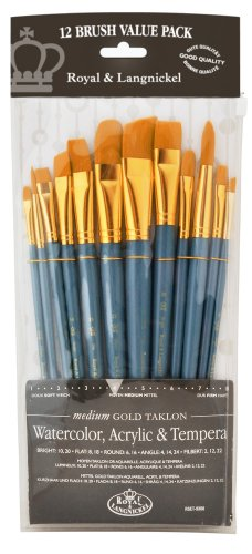 Angular Artist Brush Set - Royal Brush Manufacturing Royal and Langnickel Zip N' Close 12-Piece Brush Set in Vinyl Pouch