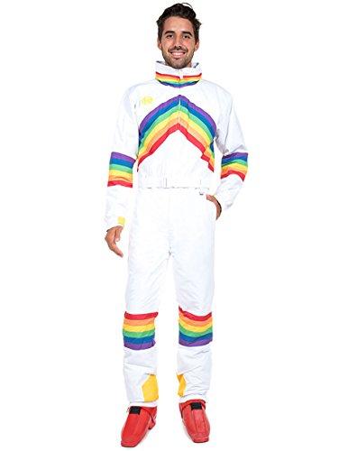 - Tipsy Elves Sunrise Shredder Ski Suit - White and Neon Retro Ski Suit: Large