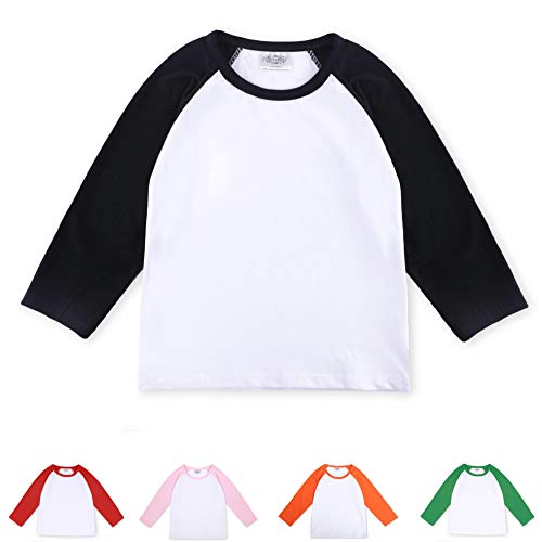 CloudCreator Toddler Baby Girls Boys Long Sleeve Shirts Raglan Shirt Baseball Tee Cotton T-Shirt Black ()