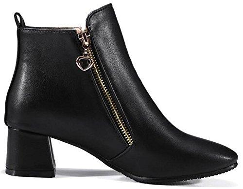 Idifu Kvinners Retro Firkantet Tå Midten Chunky Hæler Ankel Boots Side Glidelås Korte Sokker Sorte