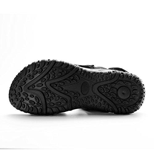 Gomnear Velcro Casual Cuero Negro Verano Hombres playa Conveniente Zapatos Zapatilla Moda Sandalia Sandalias a1rqa