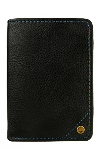 HIDESIGN Angle Stitch Leather Slim Trifold Wallet, Black