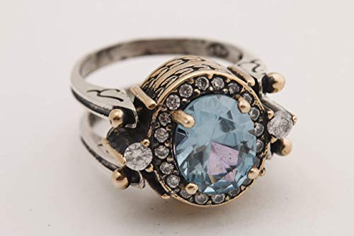 Turkish Handmade Special Design Jewelry 2 rings in 1 ring Reversible Oval Cut London Blue Topaz and Black Onyx 925 Sterling Silver Ladies Ring All Size