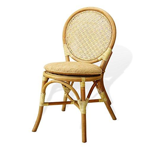 SunBear Furniture Denver Dining Armless Accent Side Chair Handmade Design ECO Natural Rattan Wicker, Cream