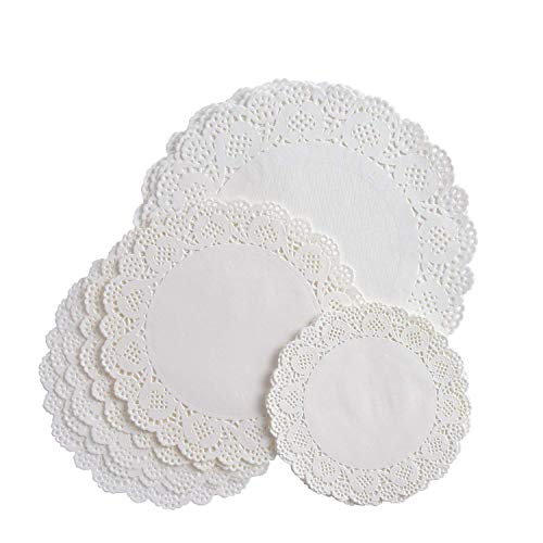 VIPITH 72 Pieces White Round Lace Paper Doilies Cake Packaging Paper Pad for Party or Wedding Tablewear Decoration, 6.5 Inch, 8.5 Inch, 10.5 Inch