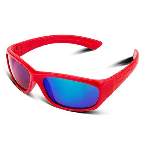 RIVBOS RBK025 Rubber Flexible Kids Polarized Sunglasses Glasses Age 3-10 (Red Coating - Tech 7 Sunglasses