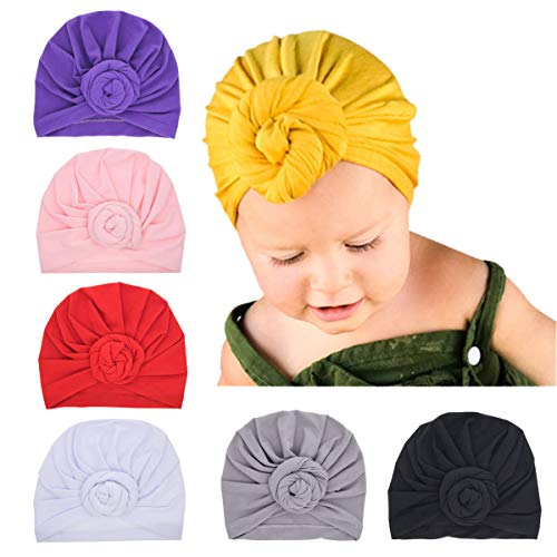 6pcs Newborn Baby Cotton Cloth Turban Toddler Rabbit Hospital Hat Ear Hat Kids Set Head Cap (NN56-6PCS)