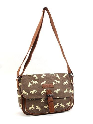 Small 7388 Brown Horses Ladies Design Satchel Bag Cream with Shoulder 1ZxqwC