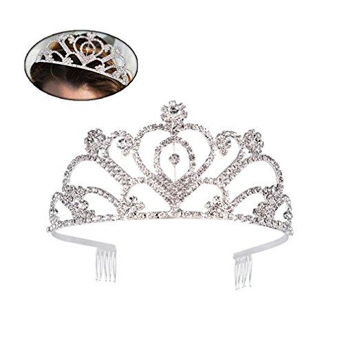 Ondder Wedding Prom Bridal Crown Rhinestone Crystal Decor Headband Veil Tiara for Women (Style 1)