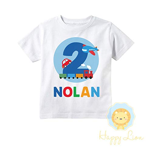 Happy Lion Clothing - Transportation Things That Go Birthday Shirt for Toddler Boys, Cars and trucks birthday shirt, planes, trains, and -