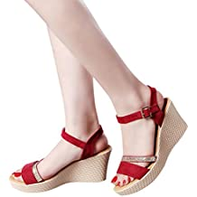 Haoricu Clearance Platform Shoes Women Fish Mouth High Heels Wedge Sandals Buckle Slope Dress Shoes