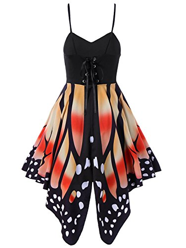 Sexiest Girl Halloween Costumes (Aro Lora Women's Butterfly Printed Lace up High Waist A Line Irregular Swing Dress Medium Orange)