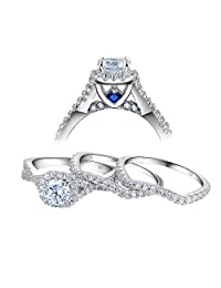 Newshe 3pcs Round White Cz Blue 925 Sterling Silver Engagement Wedding Ring Set Size 5-10