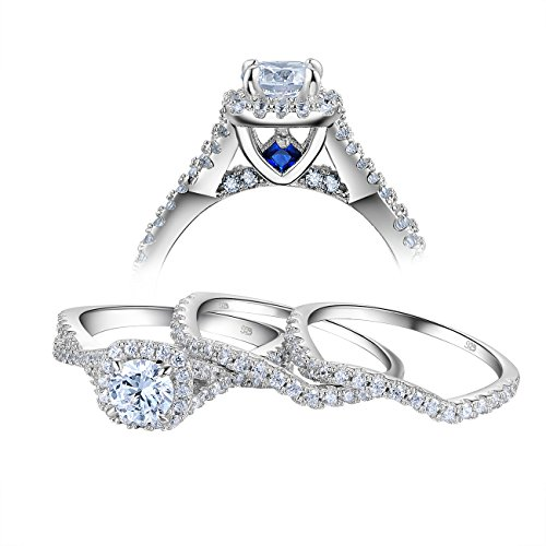 Diamond Set Sapphire Jewelry (Newshe 3pcs Round White Cz Blue 925 Sterling Silver Engagement Wedding Ring Set Size 7)