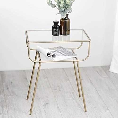 Bestellen Saladplates-LXM tafel, bijzettafel, kleine salontafel, nachtkastje, evenwichtig glazen bijzettafel met gouden metalen frame, voor woonkamer, balkon, decoratief, goud  V2kk13v
