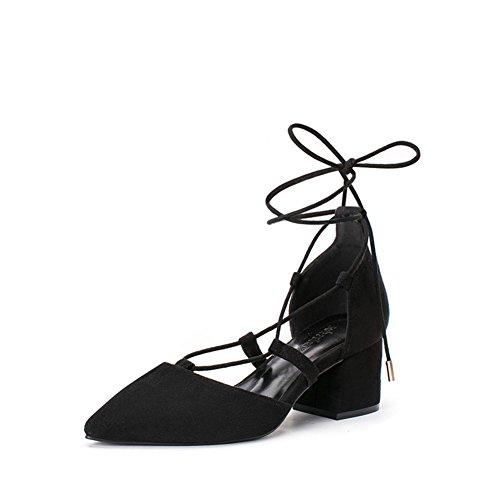 PUMPS Schuhe Pointy Heels,Chucky Ferse Freizeitschuhe,Schuh Strap Schuhe Korean Shoes-B Fußlänge=23.3CM(9.2Inch)