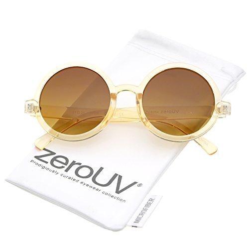 zeroUV - Classic Retro Horn Rimmed Neutral-Colored Lens Round Sunglasses 52mm (Peach / Amber)
