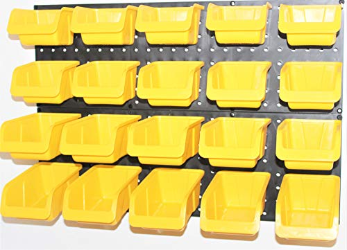WallPeg Tool Organizer – Plastic Pegboard Yellow Bins 20 ea. # AM 20Y by WallPeg