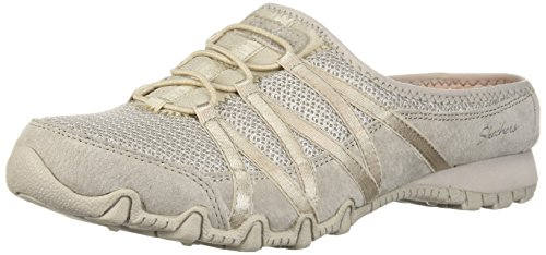 Skechers Women's Bikers-Fan Club-Sporty Slip-On Mesh-Bungee Relaxed Fit Mule, Natural, 10 M US Athletic Club