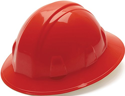 Pyramex Red Full Brim Style 4 Point Ratchet Suspension Hard Hat by Pyramex Safety