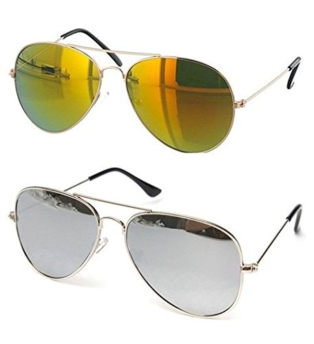 a18b00b9b38 SHEOMY COMBO OF STYLISH SILVER FRAME SILVER MERCURY GLASS AVIATOR AND GOLDEN  FRAME GOLDEN MERCURY GLASS SUNGLASSES WITH 2 BOX Best Online Gifts   Amazon.in  ...