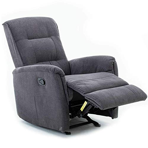 Mecor Manual Recliner Chair, Fabric Rocker Recliner Grey Glider/Nursery Recliner Reclining Single Sofa Chair for Living Room Bedroom (Grey)