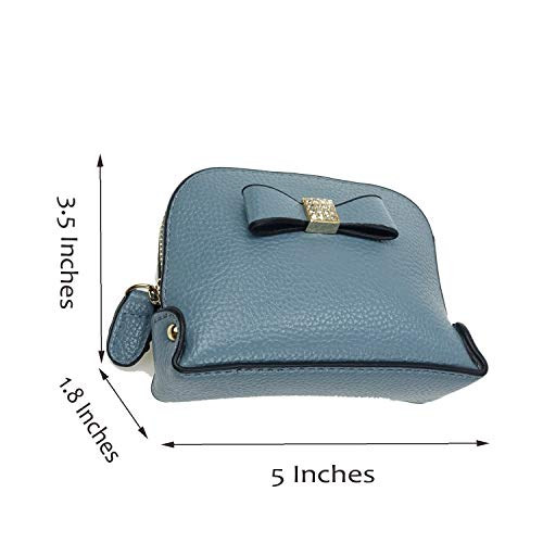Coin Purse Wallet leather Wristlet Handbags with Wrist Strap Cute Mini Designer Pouch Great Gifts for Women Girls (Bow Blue) by JZE (Image #4)