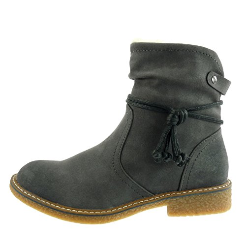 Angkorly Women's Fashion Shoes Ankle Boots - Booty - Snow Boots - Cavalier - Fur - Laces - Buckle Block Heel 2.5 cm Grey 1MtUSHy