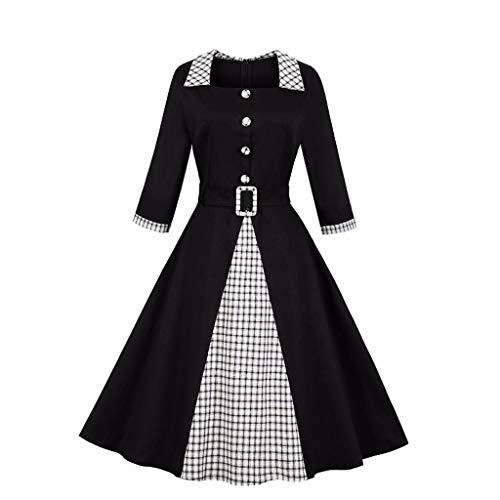 FANFU Womens Fashion Casual Vintage Plaid Patchwork Party Dress]()