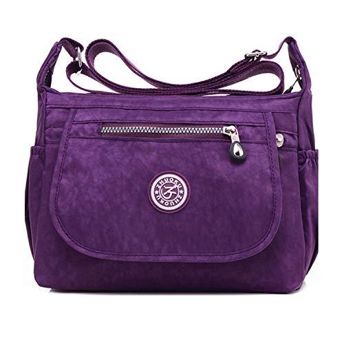 Women's Multi Pocket Crossbody Bag Casual Daypack Messenger Bag Travel Shoulder handbags Purple 4