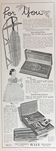 Pioneer Racer Sled, Snow White, Print Ad. Color Illustration (writing cabinet) Original 1947 Collier's Magazine Art (Snow Sled Print)