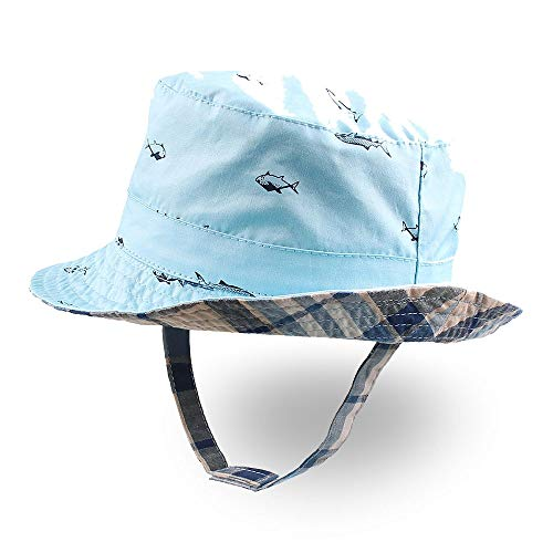XIAOHAWANG Baby Boy Bucket Toddler Kids Sun Hat UPF 50+ Wide Brim Outdoor Beach Caps Spring (Fish, S (12-24 Months))
