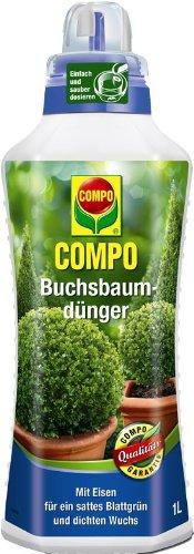 COMPO Buchsbaumdünger, flüssiger Blumendünger für alle Buchsbäume auf Balkon, Terrasse und im Garten, 1 l