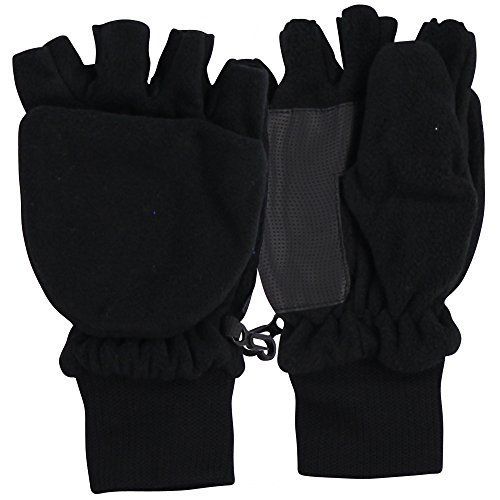 Convertible Flip Gloves Mittens (Women's Fleece Fingerless Gloves / Convertible Mittens Black)