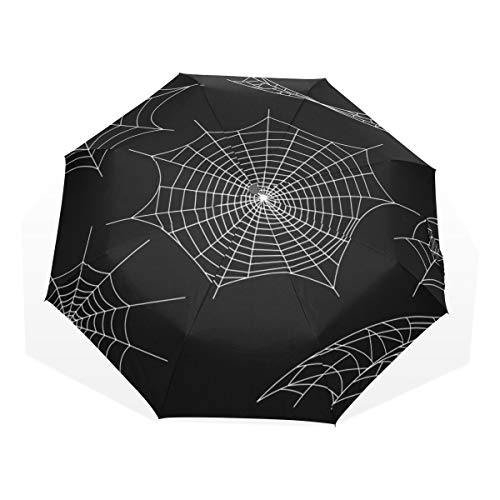 Travel Umbrella Black Spiders And Broken Webs Anti Uv Compact 3 Fold Art Lightweight Foldable Umbrellas(outside Printing) Windproof Rain Sun Protection Umbrellas For Women Girls Kids]()