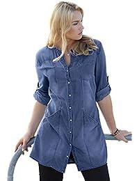 Women's Plus Size Snap Front Denim Tunic