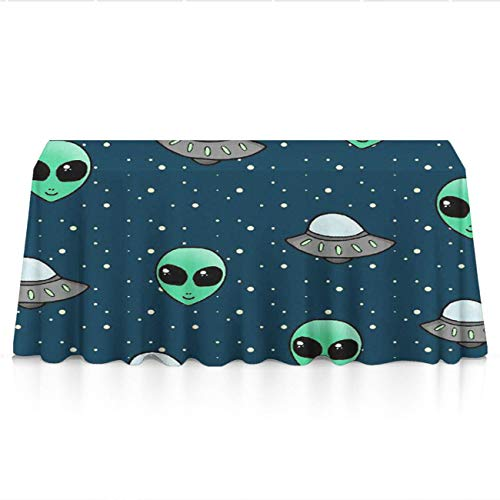 NiYoung Table Cloth, Dust-Proof Stain Resistant Tablecovers, Rectangular Alien and UFO Head Machine Washable Table Toppers for Outdoor Party, Glam Wedding Decor