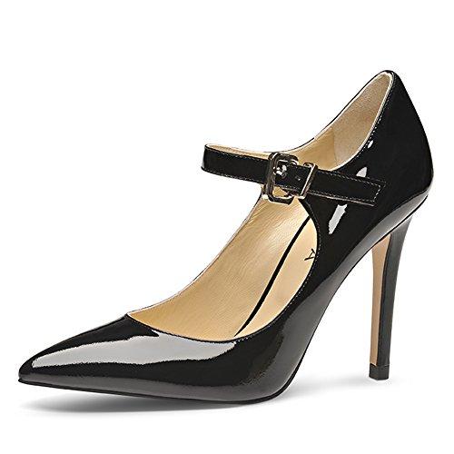 vestir Negro Shoes Evita Piel mujer Negro Zapatos para de de tACCqZw