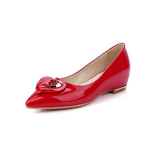 AmoonyFashion Womens Pull On Low Heels Pu Solid Pointed Closed Toe Pumps-Shoes Red AU3L3YXF