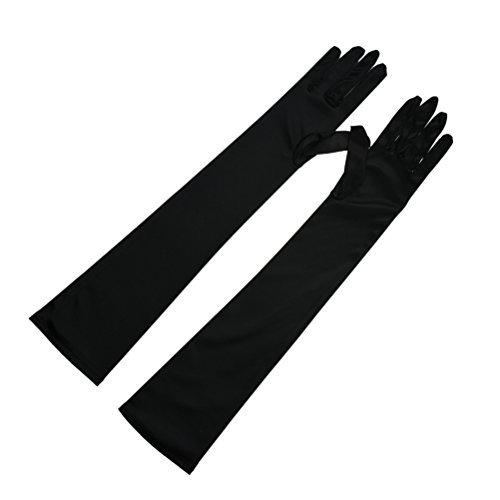 Greenmoe Women's Long Finger Opera Party Elbow Length Satin Gloves Black