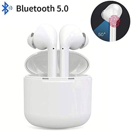 [해외]블루투스 무선 이어버드 터치 무선 헤드폰 땀 방지 스포츠 블루투스 헤드셋 안드로이드  전화용 휴대용 충전 (화이트) / Bluetooth Headphones,True Wireless Earbuds,Sweatproof Sports Bluetooth Headset,Fast Auto-Pairing,with Portable Charge ...